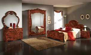 Тициана спальня комплект: кровать 160x200 + комод с зеркалом + 2 тумбы прикроватные + шкаф 3 дверный орех