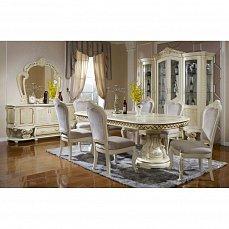 Ноэми столовая комплект: витрина 4 дверная + буфет с зеркалом + стол обеденный + 6 стульев