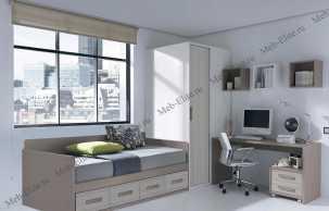 Данза детская 02: кровать +шкаф+тумбочка+стол письменный+ полка