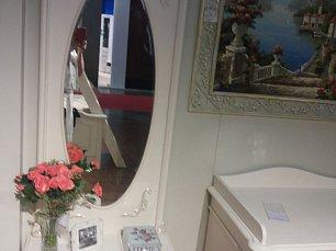Афина белое с жемчугом зеркало напольное с ящиком