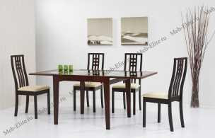 Бенсон столовая комплект: стол обеденный Бенсон 90/180х90 + 4 стула Бетти  капучино