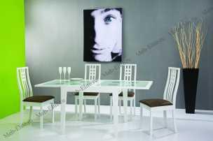 Бенсон столовая комплект: стол обеденный Бенсон 90/180х90 + 4 стула Сесилия