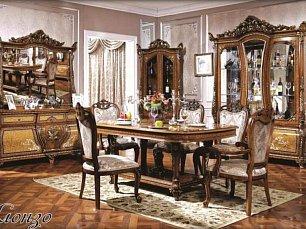 Алонзо столовая комплект: витрина 3 дверная + буфет с зеркалом + стол обеденный 190/240х113 + 4 стула + 2 стула с подлокотниками
