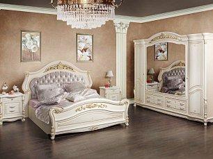 Касандра спальня комплект: кровать 180х200+2 тумбы прикроватные+стол туалетный с зеркалом+шкаф 6 дверный