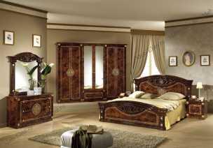 Рома спальня комплект: кровать 160 + 2 тумбы + комод + 6 дв шкаф орех