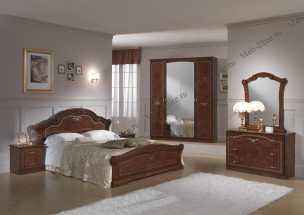 Ирина спальня комплект: кровать 160 + 2 тумбы + комод + 4 дв шкаф орех