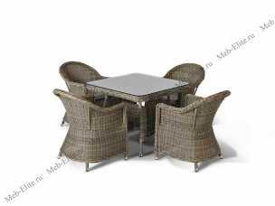 Ротанг Венето малый: комплект: стол обеденный 90х90+4 кресла