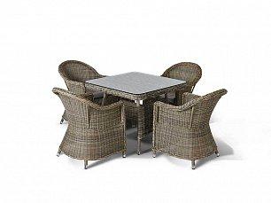 Венето малый: комплект: стол обеденный 90х90+4 кресла иск. ротанг