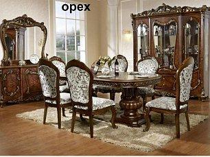 Энрика столовая комплект: витрина 4 дверная + буфет с зеркалом + стол обеденный 200/240х113 + 6 стульев орех