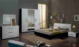 Глория спальня комплект: кровать 160+ 2 тумбы прикроватные+комод с/з+шкаф 4 дверный (белый)
