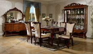 Роял столовая комплект: Сервант 3-х. дв.+Комод с зеркалом+ Стол обеденный 2,0 (2,4-2,8), Стул -6 шт+2 стула с подлокотниками
