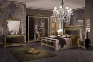 Катя спальня комплект: кровать 180х200+2 тумбы прикроватные+комод с зеркалом+ 6 дверный шкаф черный