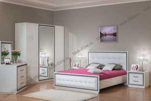 Нью-Йорк спальня комплект:шкаф+комод+зеркало+кровать 160+тумба прикроватная 2шт. (белая)