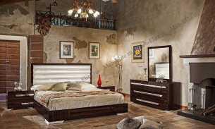 Романо спальня комплект: кровать 160+2 тумбы прикроватные+комод+зеркало (махогон)