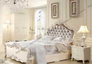 Виктория спальня комплект:  кровать 150х200 арт. 8811 + 2 тумбы прикроватные + туалетный стол арт. 8802-03 + пуф + шкаф 4 дверный
