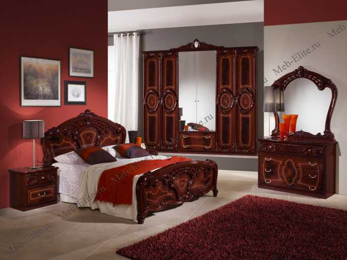 Роза спальня комплект: кровать 160 + 2 тумбы + комод + 6 дв шкаф могано