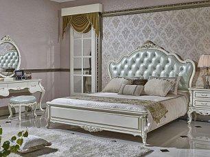 Ирма спальня комплект: кровать 180х200 + 2 тумбы прикроватные + туалетный стол + шкаф 4 дверный + пуф