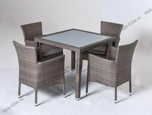 Ротанг Бено комплект: стол обеденный 90х90 + 4 кресла