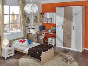 Данза детская 13: кровать +тумба+стол письменный 2шт+полка 2шт+шкаф комбинированный+ шкаф 1дверный+подвесной модуль с дверью 2шт
