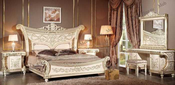 Лав спальня комплект: кровать 180х200 + 2 тумбы прикроватные + туалетный стол с зеркалом + шкаф 4 дверный + пуф