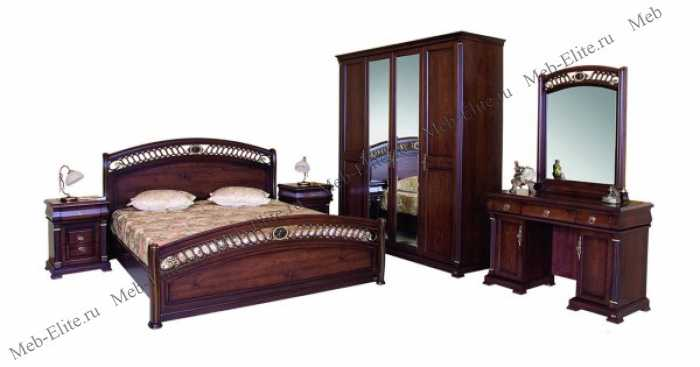 Нотти спальня комплект: кровать 180х200 + 2 тумбы прикроватные + туалетный стол с зеркалом + банкетка + 4 дверный шкаф