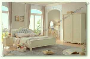 Эмилия спальня детская комплект: кровать 120х200+тумба прикроватная+туалетный стол+банкетка+шкаф 2 дверный