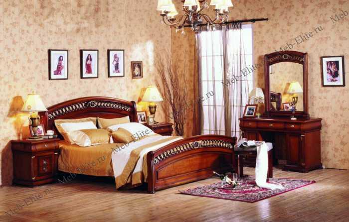 Нотти спальня комплект: кровать 160х200 + 2 тумбы прикроватные + туалетный стол с зеркалом + банкетка + 3 дверный шкаф