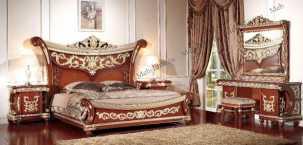 Лав спальня комплект орех: кровать 180х200 + 2 тумбы прикроватные + туалетный стол с зеркалом + шкаф 5 дверный + пуф