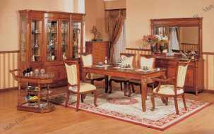 Ангелина столовая комплект: витрина 4 дв.+комод +стол обеденный