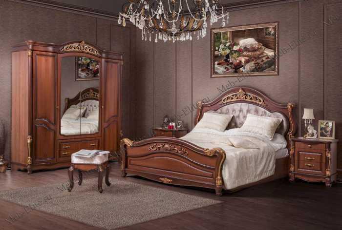 Касандра спальня комплект: кровать 180х200+2 тумбы прикроватные+стол туалетный с зеркалом+шкаф 4 дверный орех