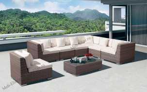 Ротанг Беллуно гостиная комплект:угловой модуль (3шт)+стол кофейный+прямой модуль (4шт)