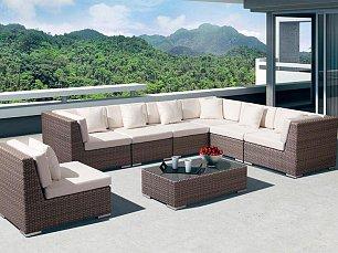 Беллуно гостиная комплект:угловой модуль (3шт)+стол кофейный+прямой модуль (4шт) иск. ротанг