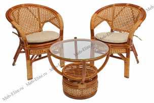 Пеланги комплект: столик + 4 кресла мёд