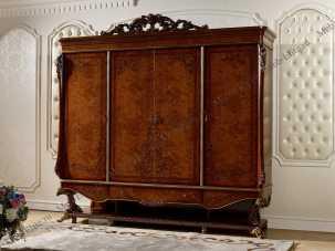 Роял шкаф 4 дверный орех+золото