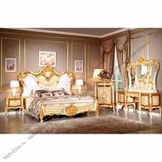Эсмиральда спальня комплект: кровать 180х200 + 2 тумбы прикроватные + уталетный стол с зеркалом + шкаф 5 дверный + пуф