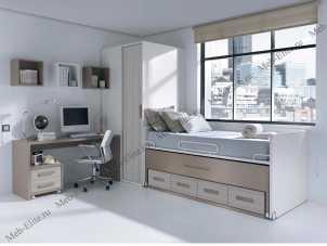 Данза детская 01: кровать двойная+шкаф+тумбочка+стол письменный+ полка