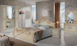 Селена спальня комплект: кровать 160+2 тумбы прикроватные+комод с/з+шкаф 4 дверный (бежевый)