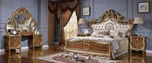 Орнелла спальня комплект: кровать 180х200 + 2 тумбы прикроватные + туалетный стол с зеркалом + шкаф 6 дверный + пуф