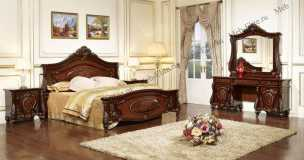 Лероз спальня комплект орех: кровать 180х200 + 2 тумбы прикроватные + туалетный стол с зеркалом + шкаф 5 дверный + пуф