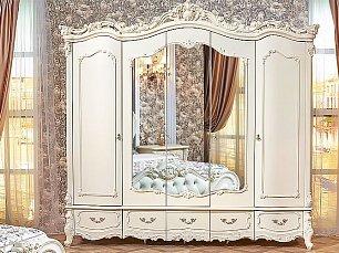 Элиза Люкс шкаф 5 дверный с зеркалом крем