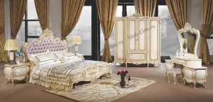 Милана 3886 ФБ спальня комплект: кровать 180х200 + 2 тумбы прикроватные + стол туалетный с зеркалом + шкаф 4 дверный + пуф