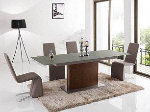 ЕСФ столовая комплект: стол обеденный 180/220х90 HT2156 + стулья HD6609 4 шт. глянец