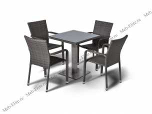 Ротанг Колекто комплект: стол  70х70 + 4 полукресла