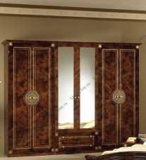 Рома шкаф 6 дверный с зеркалом орех