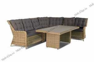 Ротанг Бергамо комплект: правый+левый модуль+угловой модуль+средний модуль+стол обеденный