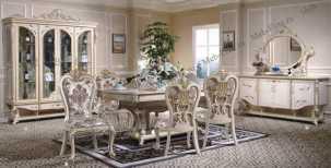 Наполеон 3888W столовая комплект: 4хдверная витрина+комод+стол+8стульев