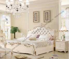 Виктория спальня комплект:  кровать 180х200 арт. 8802 + 2 тумбы прикроватные + туалетный стол арт. 8802 + пуф + шкаф 4 дверный