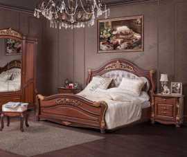 Касандра спальня комплект: кровать 180х200+2 тумбы прикроватные+стол туалетный с зеркалом+шкаф 6 дверный орех