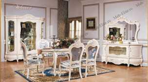 Мона Лиза столовая комплект: комод с зеркалом+сервант 4-х двер+стол +4 стула+2 стула  с подлокотниками -2 белый