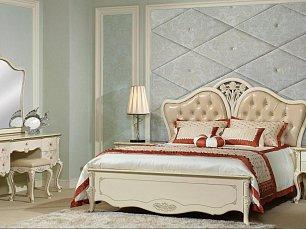 Бланш спальня комплект: кровать 160х200 + 2 тумбы прикроватные + туалетный стол + шкаф 4 дверный + пуф